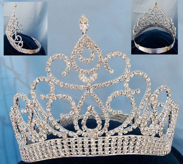 Beauty Pageant Silver Contoured Crown Tiara - CrownDesigners