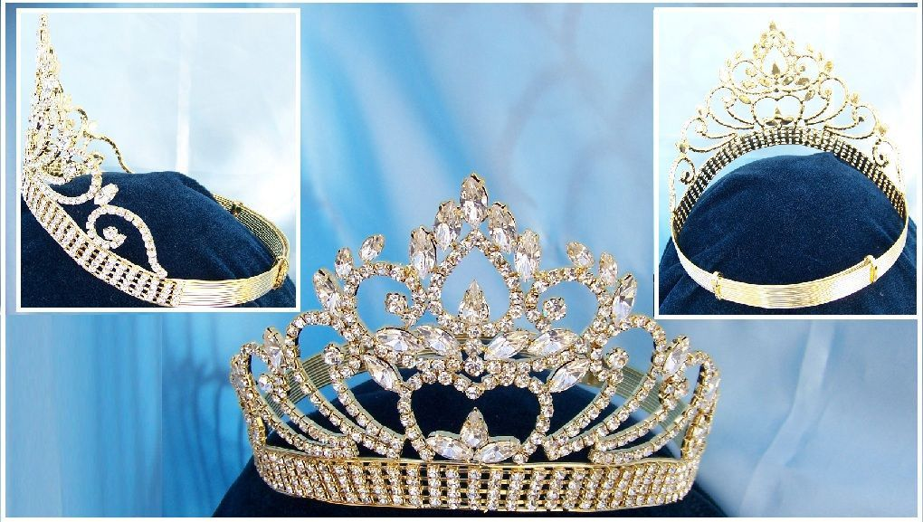 Beauty pageant  gold  contoured crown tiara, CrownDesigners