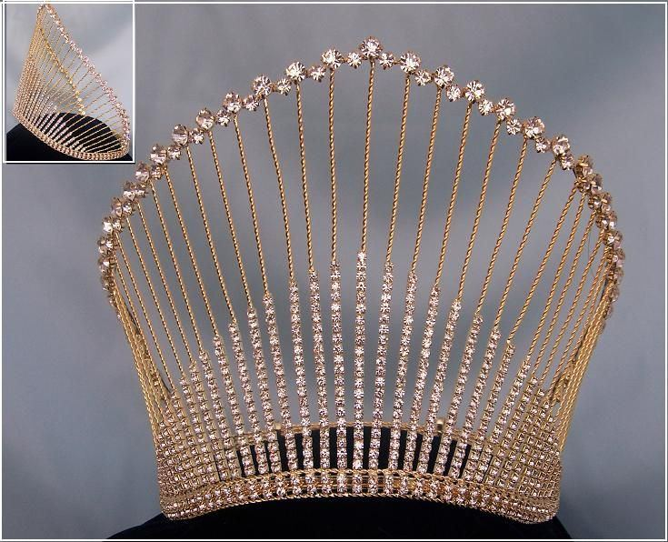 Rhinestone Miss Beauty Queen Gold Pageant Crown Tiara, CrownDesigners