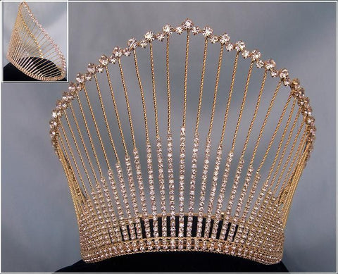 Rhinestone Miss Beauty Queen Gold Pageant Crown Tiara - CrownDesigners