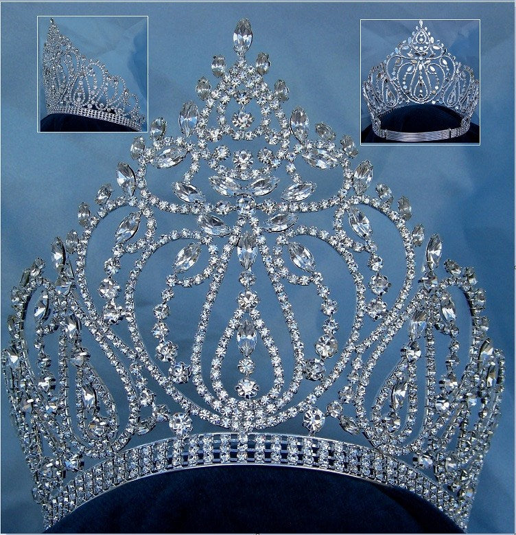 Beauty Pageant Rhinestone Queen Adjustable Silver Clear Crystal Crown Tiara - CrownDesigners