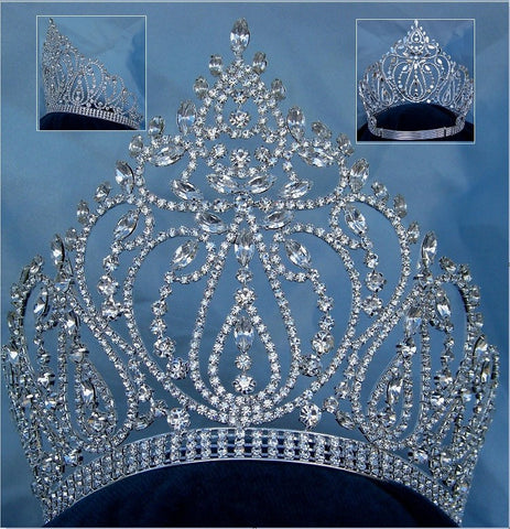 Beauty Pageant Rhinestone Queen Adjustable Silver Clear Crystal Crown Tiara, CrownDesigners