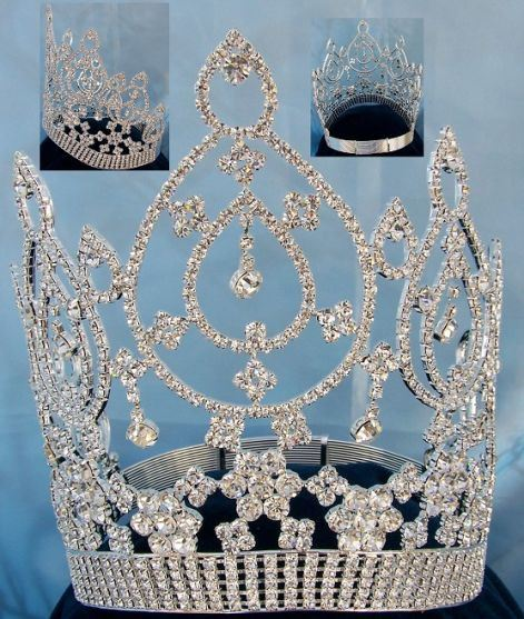Beauty pageant Silver contoured crown tiara, CrownDesigners