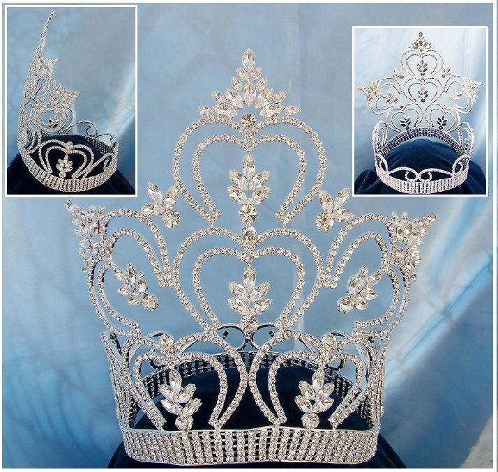 Beauty pageant Silver contoured  Full crown tiara, CrownDesigners