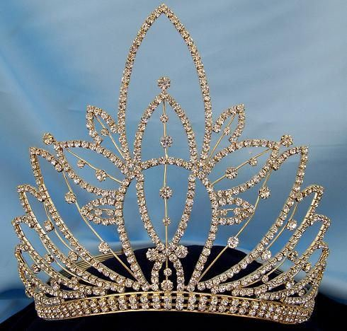 Gold Rhinestone Miss Beauty Queen Pageant Crown Tiara