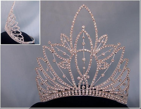 Rhinestone Miss Beauty Queen Silver Pageant Crown Tiara - CrownDesigners