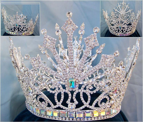 Beauty Pageant Rhinestone Queen Tsarina Alexandra Fedorovna Silver Romanov Full Crown - CrownDesigners