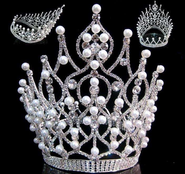 Majestic Rhinestone Pearls full Contoured Silver Crown, CrownDesigners
