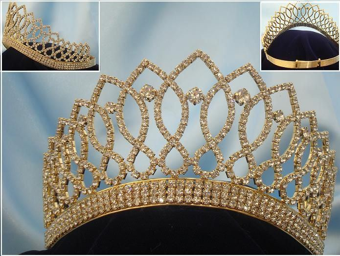 Rhinestone Bridal Queen Princess Miss Beauty Queen Gold Crown Tiara - CrownDesigners
