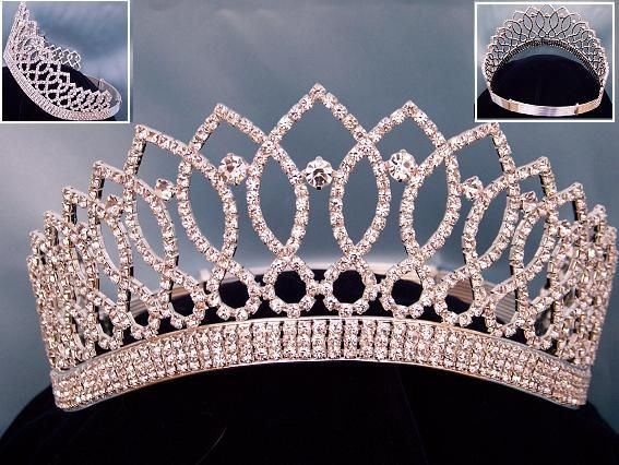 Rhinestone Bridal Queen Princess Miss Beauty Queen Silver Crown Tiara - CrownDesigners