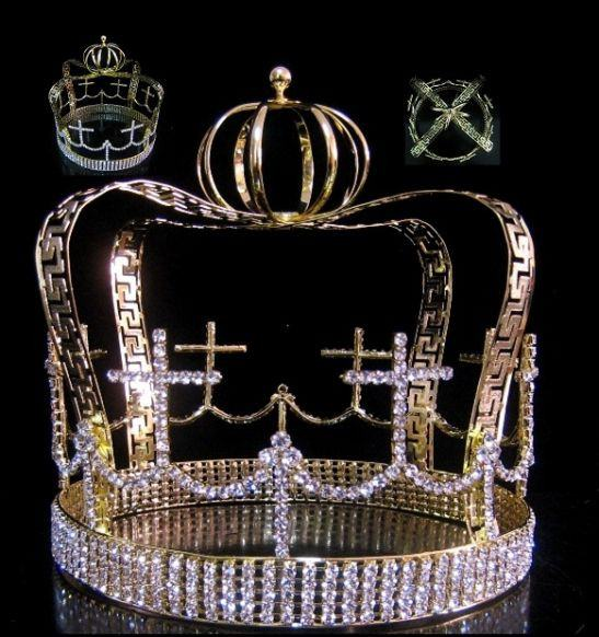 Devenshire Gold  Imperial State Mens Full  Rhinestone Crown - CrownDesigners