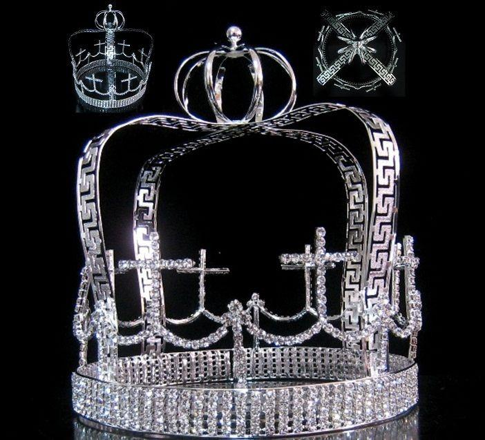 Devenshire Silver Imperial State Mens Full  Rhinestone Crown - CrownDesigners