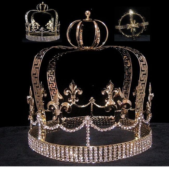 Fleur D Lis Gold Imperial State Men's Full  Rhinestone Crown, CrownDesigners