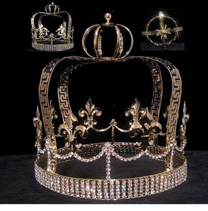 Fleur D Lis Gold Imperial State Men's Full  Rhinestone Crown - CrownDesigners