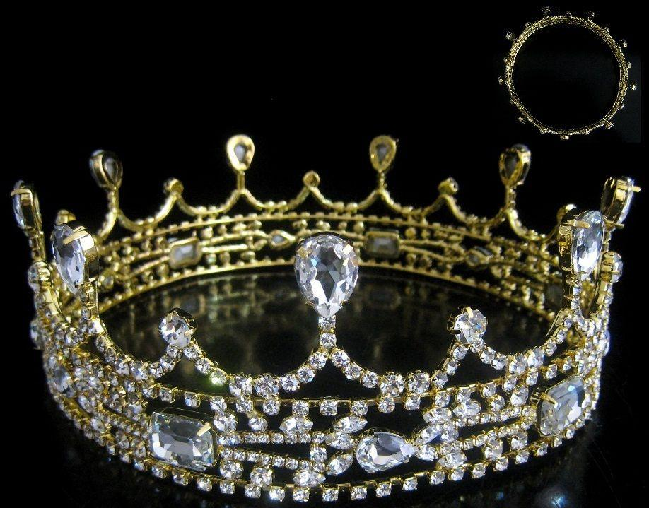 Medieval Castle Full Gold Rhinestone Royal King Crown, CrownDesigners
