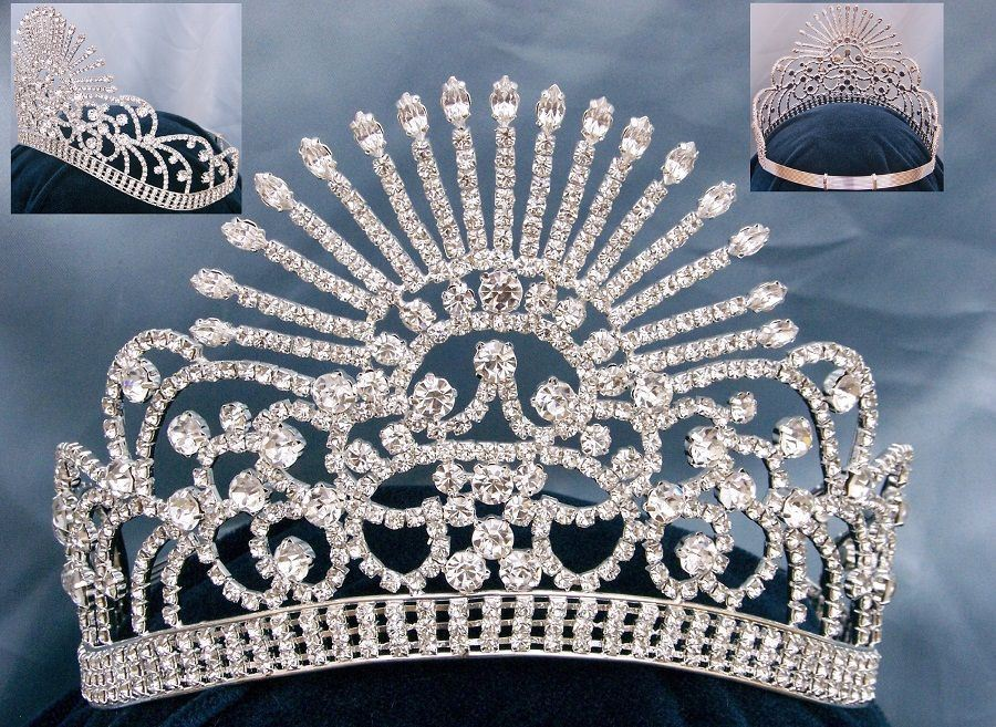 Balantine Rhinestone Silver Adjustable Contoured Pageant Crown Tiara - CrownDesigners