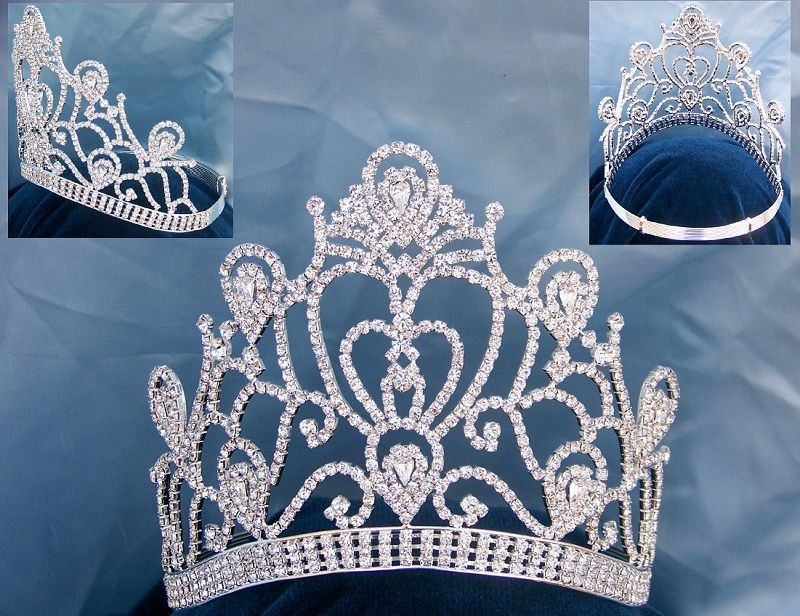 Veronica Pageant Adjustable Contoured Silver  Rhinestone Crown, CrownDesigners