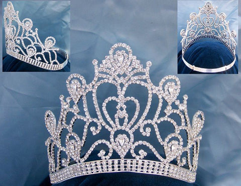 Veronica Pageant Adjustable Contoured Silver  Rhinestone Crown - CrownDesigners