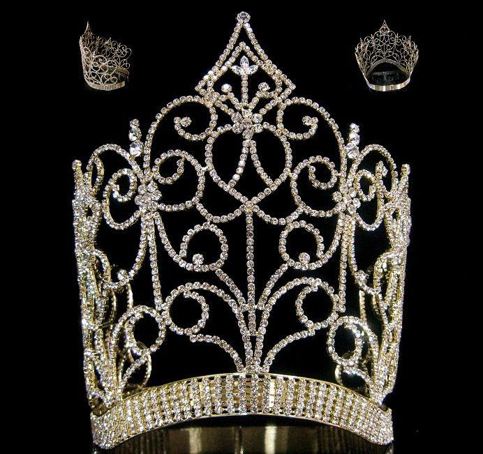Royal Imperial Queen rhinestone GOLD crown tiara, CrownDesigners