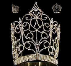 Royal Imperial Queen rhinestone GOLD crown tiara - CrownDesigners