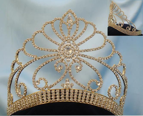 Beauty Pageant Gold Contoured Rhinestone Adjustable Crown Tiara, CrownDesigners