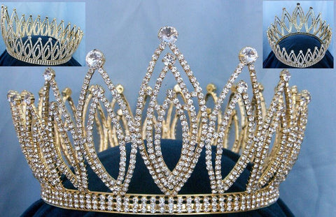 Royal Imperial Adjustable Full Rhinestone Unisex Queen, King Crown - CrownDesigners