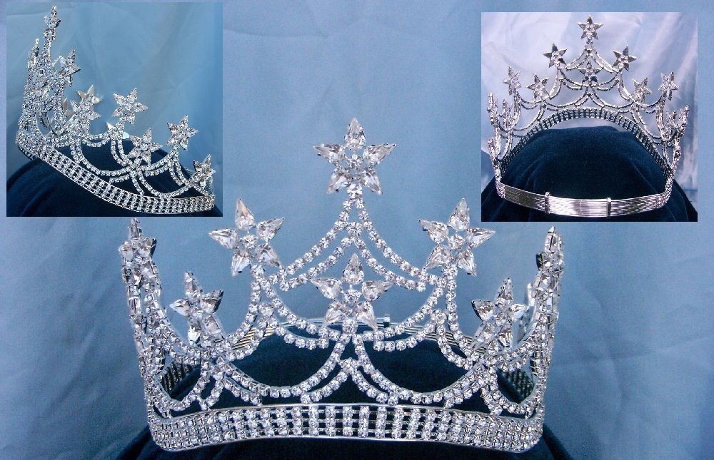 Beauty Pageant Rhinestone Contoured Adjustable Crown Tiara, CrownDesigners