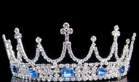 Victorian Style Silver Rhinestone adjustable crown tiara, CrownDesigners