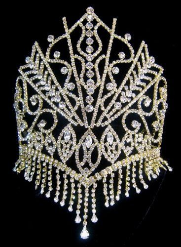 The Stars of the Nile Rhinestone Gold Beauty Pageant Queen Crown, Tiara - CrownDesigners