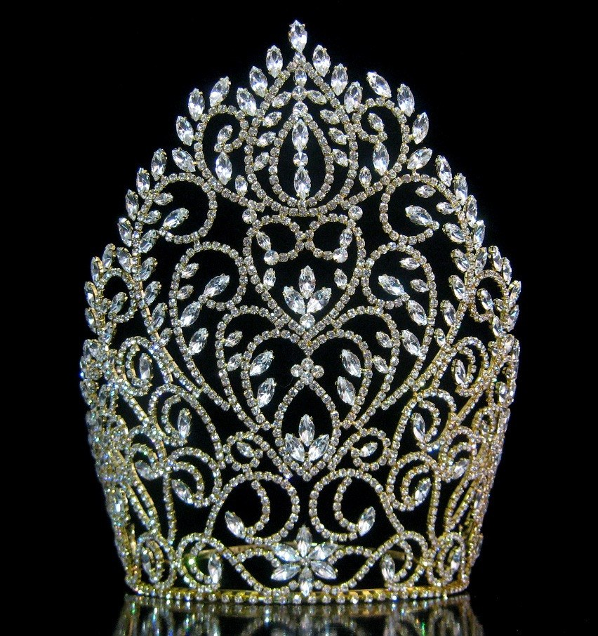 Rhinestone Miss Beauty Queen Pageant Crown Gold Tiara Crowndesigners