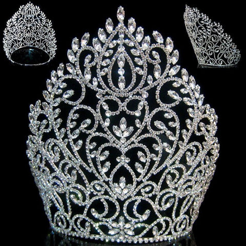 Rhinestone Miss Beauty Queen Pageant Crown Silver Tiara - CrownDesigners