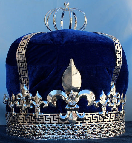 Imperial State Mens Silver  and blue Velvet Crown - CrownDesigners