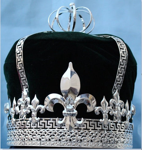 Imperial State Mens King Rhinestone Silver and Green Crown - CrownDesigners