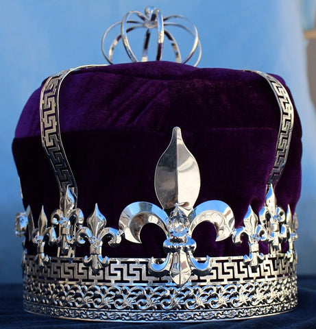 Imperial State Mens King Rhinestone Silver and Purple Crown, CrownDesigners