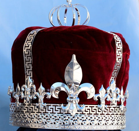 Imperial State Mens king Silver  and red Crown - CrownDesigners