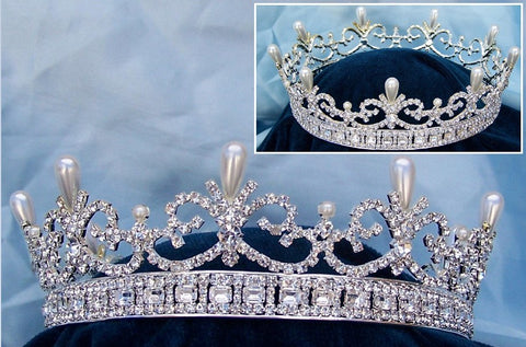 Queen Victoria Regal Silver  Full Rhinestone Crown, CrownDesigners