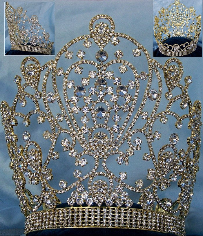 Belinda Princess Bridal Full Gold Pageant Rhinestone Crown - CrownDesigners