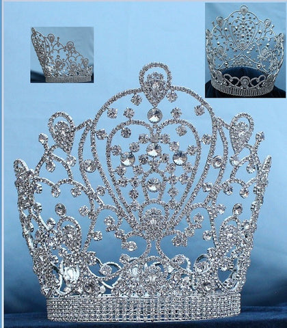 Belinda Princess Bridal Full SILVER  Pageant Rhinestone Crown - CrownDesigners