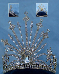 Russia Palace Imperial Rhinestone controured Gold crown - CrownDesigners