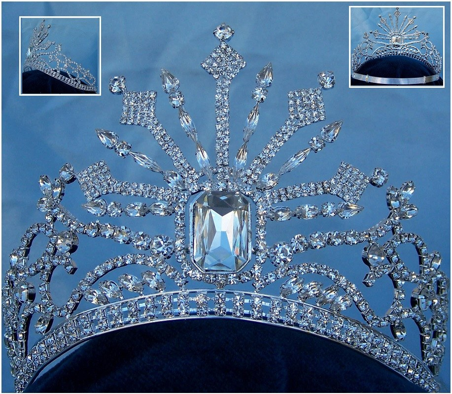 Russia Palace Imperial Rhinestone controured Silver crown, CrownDesigners