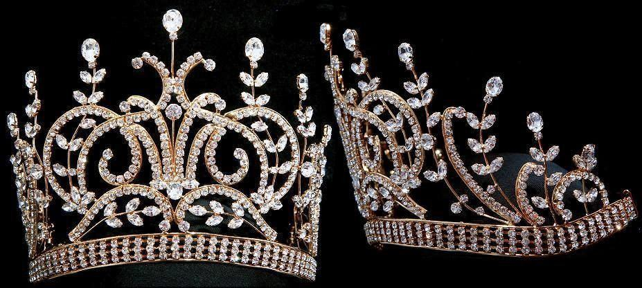 Large Gold Leaey-Spray 1905 English Rhinestone Pageant Crown Tiara, CrownDesigners