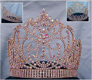 Aurora Borealis Miss American Beauty Pageant Queen Rhinestone Crown Gold FULL - CrownDesigners
