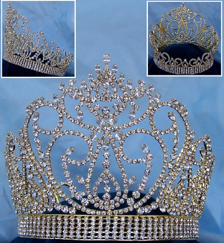 Miss American Beauty Pageant Queen Rhinestone Crown Gold FULL, CrownDesigners
