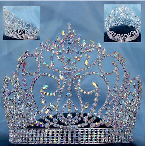 Aurora Borealis Miss American Beauty Pageant Queen Rhinestone Crown Silver FULL - CrownDesigners