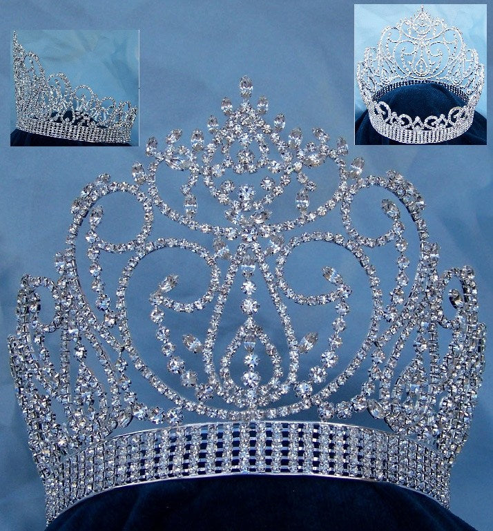 Miss American Beauty Pageant Queen Rhinestone Crown Silver FULL - CrownDesigners