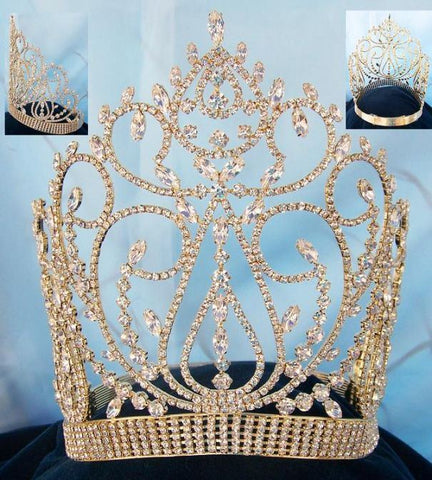 Beauty pageant contoured gold crown tiara, CrownDesigners