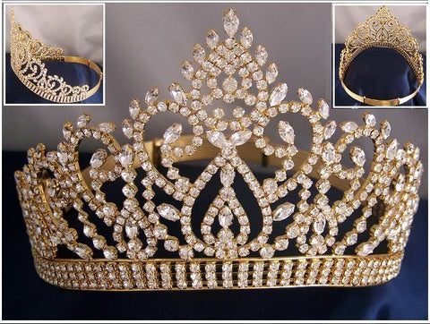 Beauty Pageant Award Gold Contoured adjustable crown