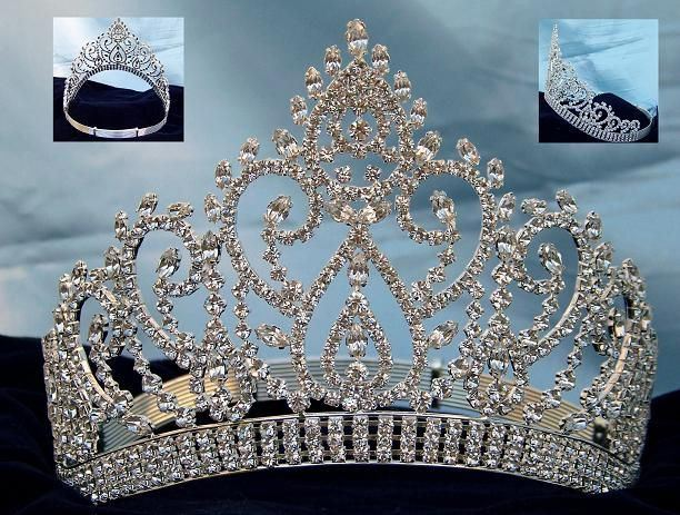 Beauty Pageant Silver Contoured Rhinestone Adjustable Crown Tiara