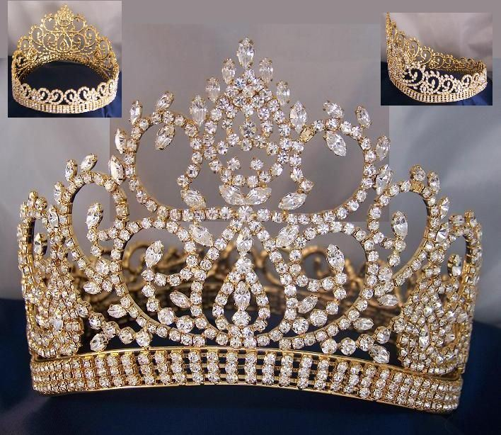 Beauty Pageant Award Gold Contoured Full Crown - CrownDesigners