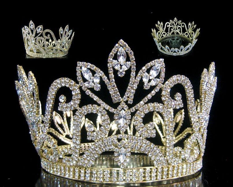 Mariola Rhinestone Beauty Full Round Gold Pageant Crown - CrownDesigners